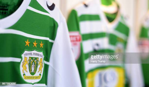 Detailed view of Yeovil Town shirts in the changing room during the Sky Bet League Two match between Yeovil Town and Stevenage Borough at Huish Park...