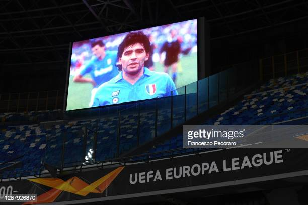 Detailed view the big screen showing a picture in memory of the deceased Diego Maradona during the UEFA Europa League Group F stage match between SSC...