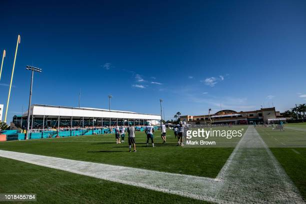Detailed view the Miami Dolphins practicing during Miami Dolphins Training Camp at Baptist Health Training Facility at Nova Southeastern University...