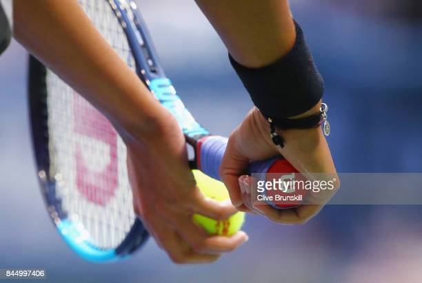 A detailed view the racket as Madison Keys of the United States serves against Sloane Stephens of the United States during their Women's Singles...