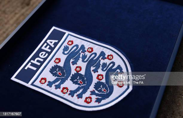 Detailed vieww of The FA crest ahead the Barclays FA Women's Super League match between Chelsea Women and Reading Women at Kingsmeadow on May 09,...