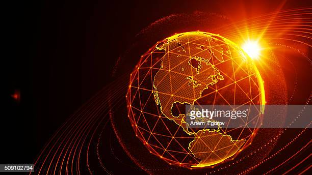 detailed virtual planet earth. technological digital globe world - hud graphical user interface stock photos and pictures