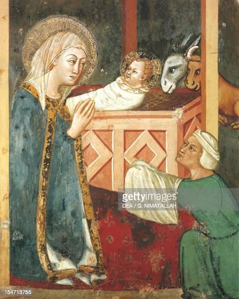 Detaill of the Nativity 14th century fresco from the Master Trecentesco of Sacro Speco School Chapel of the Madonna in Sacro Speco Monastery Subiaco...