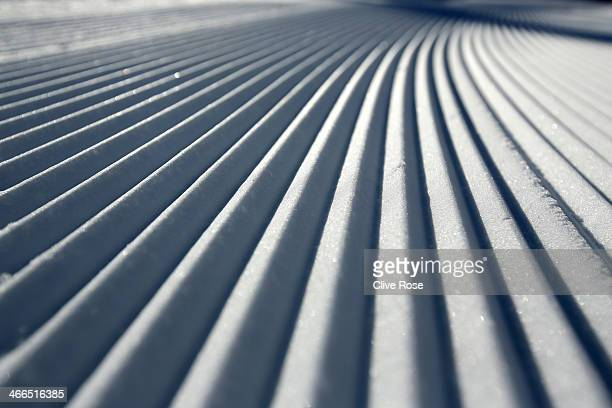 Detaill view from the course at the Alpine Skiing venue ahead of the Sochi 2014 Winter Olympics at the Rosa Khutor Alpine Center, Mountain Cluster on...
