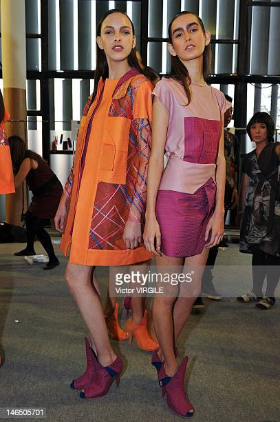 Details and backstage during the Fernanda Yamamoto show as part of the Sao Paulo Fashion Week Spring Summer 2013 on June 16, 2012 in Sao Paulo,...