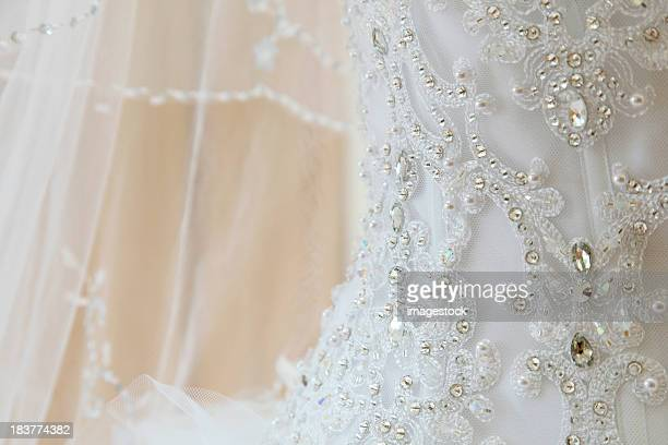 Details and designs of a wedding dress