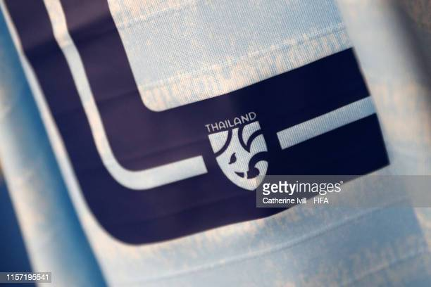 Details are seen on a Thailand shirt inside the dressing room prior to the 2019 FIFA Women's World Cup France group F match between Thailand and...