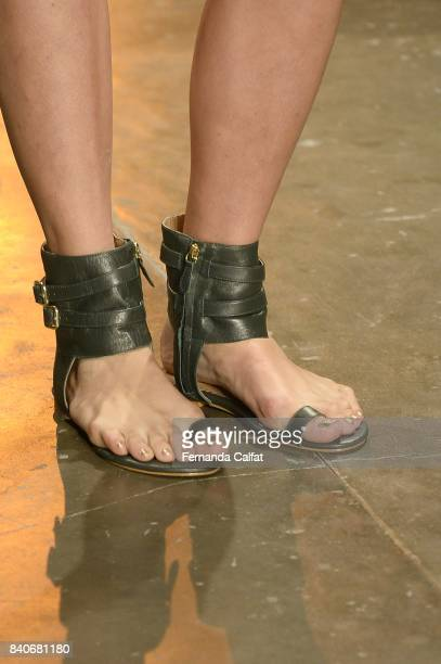 Details at Agua de Coco Runway at SPFW N44 Winter 2018 at Ibirapuera's Bienal Pavilion on August 29 2017 in Sao Paulo Brazil