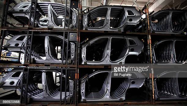 Details for Fiat Chrysler Automobiles are shown at the FCA Sterling Stamping Plant August 26 2016 in Sterling Heights Michigan An event was held...