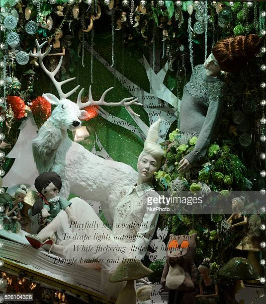 Details from Brown Thomas store window decorations with a Christmas theme, in Grafton Street, Dublin. Dublin, Ireland, on 22 November 2015.