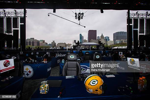 Details from inside Selection Square Stage at NFL Draft Town prior to the start of the 2016 NFL Draft on April 28 2016 in Chicago Illinois