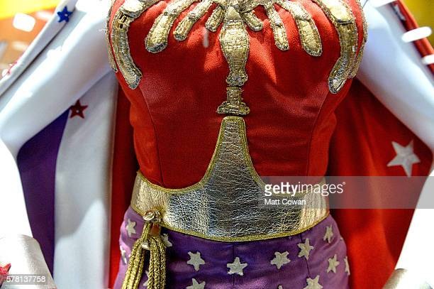 Details from one of Lynda Carter's original Wonder Woman costume is displayed at ComicCon International 2016 preview night on July 20 2016 in San...