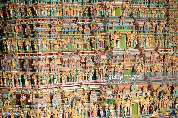 Details gopurams of meenakshi sundareswarar or meenakshi amman temple, Madurai, Tamil Nadu, India