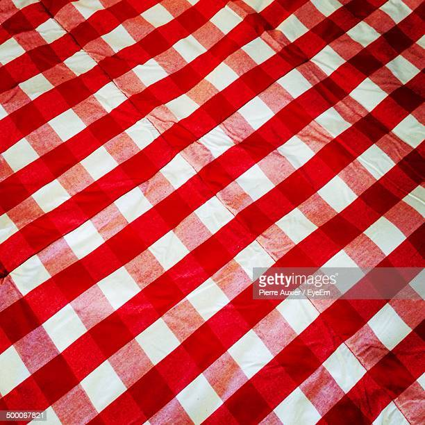Details hot of chequered table cloth