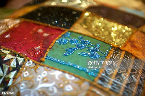 details image of fabric, cairo, egypt. - embroidery stock pictures, royalty-free photos & images