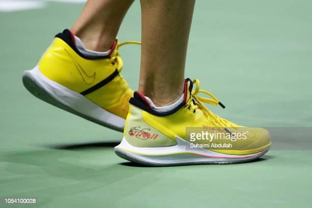 Details od Elina Svitolina of Ukraine shoe in her singles semi final match against Kiki Bertens of Netherlands during day 7 of the BNP Paribas WTA...