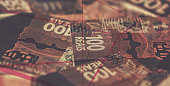 details reais banknote from brazil with