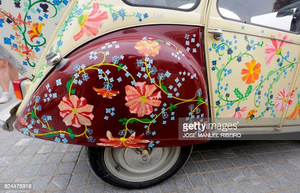 Details of a 2 CV are pictured at a camping site in Ericeira during the World 2017 2CV Meeting July 30, 2017. - The event is held between the 26th...