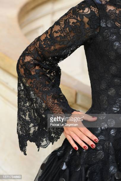 Details of a dress in compressed tulle with lacquered polka dots is seen at Conservatoire national des arts et metiers on July 26, 2020 in Paris,...