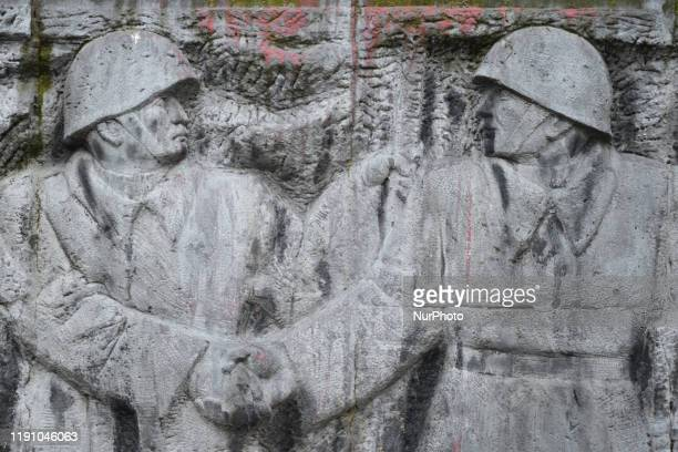 Details of a monument to the Red Army built in 1950, in Rzeszow, Poland on 30 December 2019. Many most important worldwide Media are commenting today...