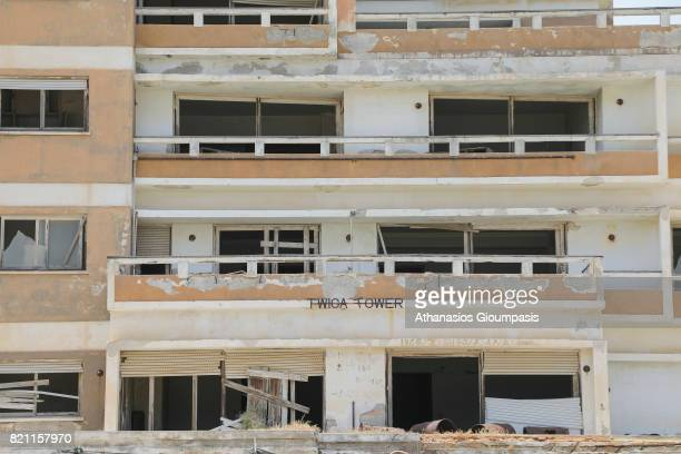 Details of Abandoned Buildings inside the 'Forbidden Zone' of Varosha district on July 11, 2017 in Famagusta, Cyprus. Abandoned and decaying...