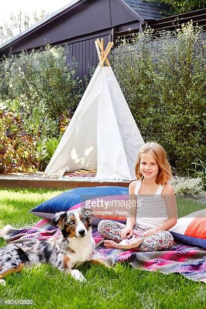Details of actress Constance Zimmer's home with daughter Colette and dog Nico pictured in the backyard photographed for Domaine Home on June 5 2015...