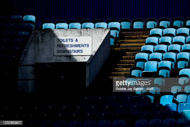 Details of an empty stand during the Sky Bet Championship match between Sheffield Wednesday and Nottingham Forest at Hillsborough Stadium on May 1,...