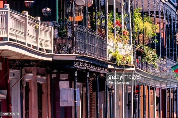 details of balconies in french quarter of new orleans, louisiana, usa - barrio francés fotografías e imágenes de stock
