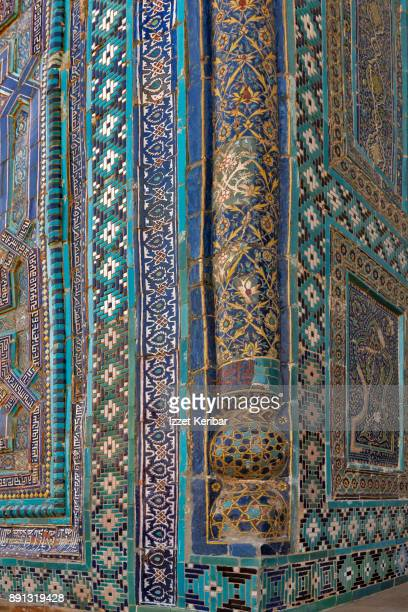 Details of blue tiles at Sheikh Zinda Mausoleum, Samarkand, Uzbekistan