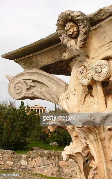 details of corinthian order, athens - xuan che stock pictures, royalty-free photos & images