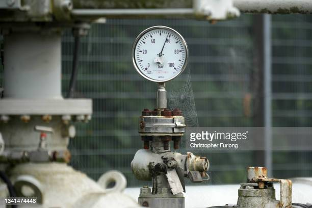 Details of equipment used on 12 inch High pressure gas pipeline which runs through the Cheshire countryside on September 20, 2021 in Knutsford,...
