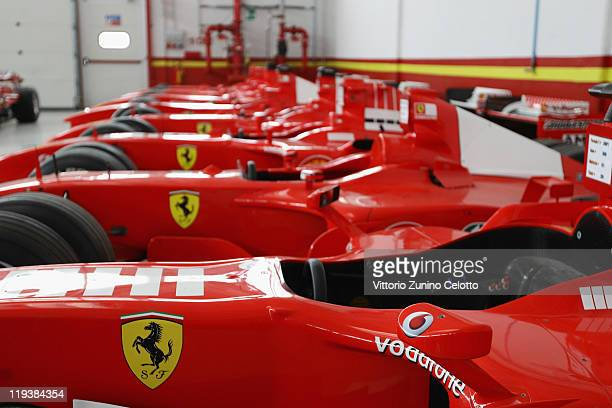 Details of Ferrari cars are displayed in the Ferrari Formula 1 clients department during a Ferrari factory tour on July 19 2011 in Maranello Italy...