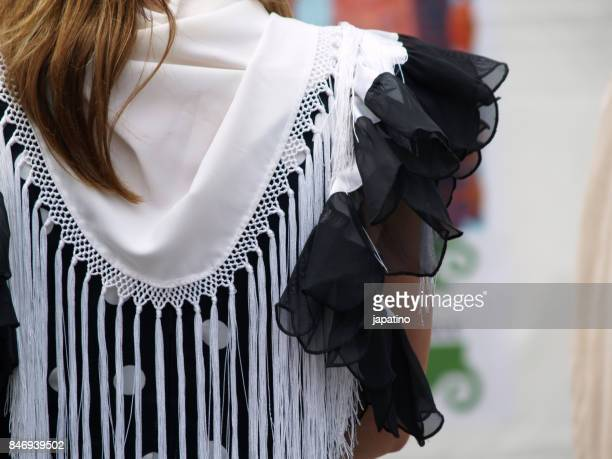 details of flamenco dress typical of andalucia. spain - fringe dress stock photos and pictures