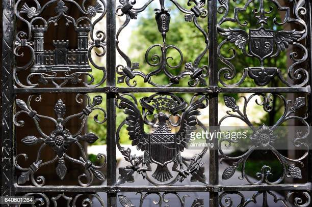 details of gate in yale university - ivy league university stock photos and pictures