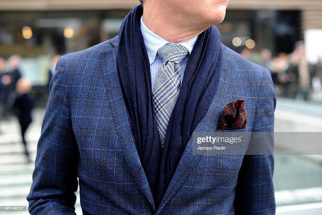 Details of jackets during Pitti Immagine Uomo 85 on January 9, 2014 in Florence, Italy.