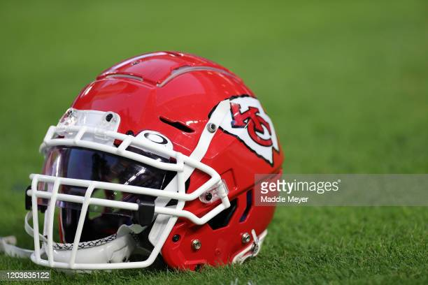 Details of Kansas City Chiefs helmet before Super Bowl LIV at Hard Rock Stadium on February 02 2020 in Miami Florida