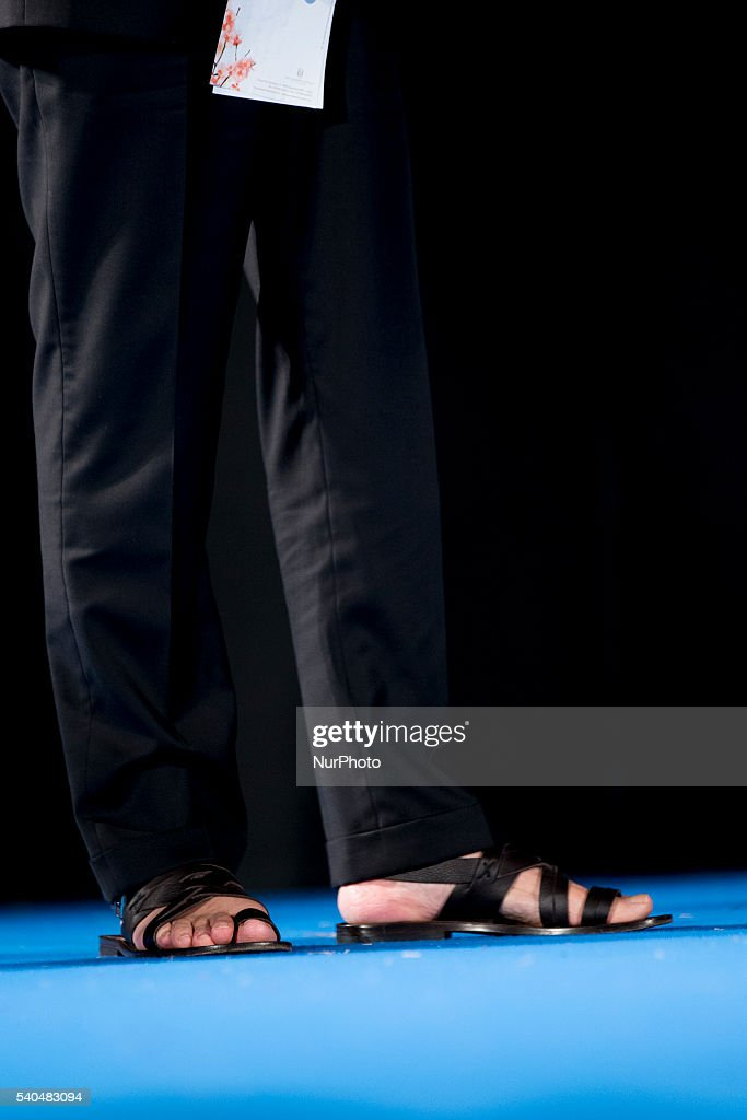 A details of shoes of Harvey Keitel during the 62 Taormina Film Fest - Day 5 on June 15, 2016 in Taormina, Italy.