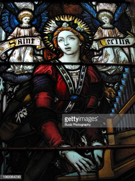 details of stained glass window inside the the limelight marketplace at 656 avenue of the americas in manhattan, new york city - santa cecilia - fotografias e filmes do acervo