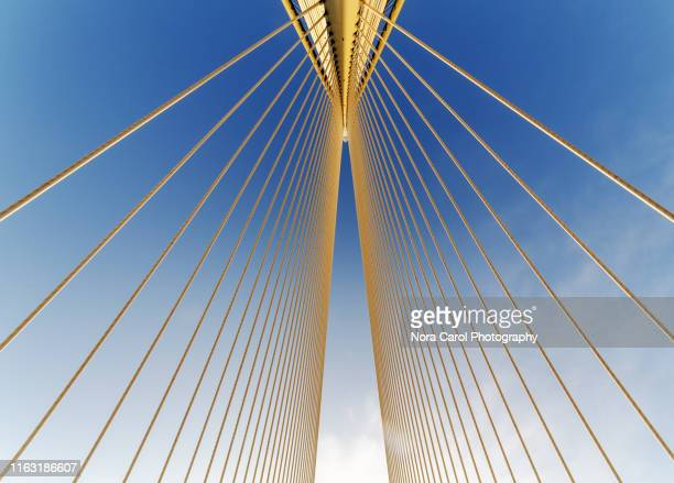 details of suspension bridge cable against blue sky - man made structure stock pictures, royalty-free photos & images