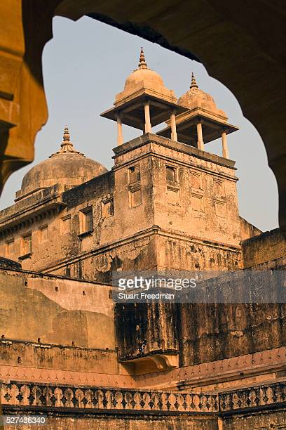 Details of the architecture inside the Amber Fort, Jaipur, India The Amer Fort, was built over the remnants of an earlier structure during the reign...
