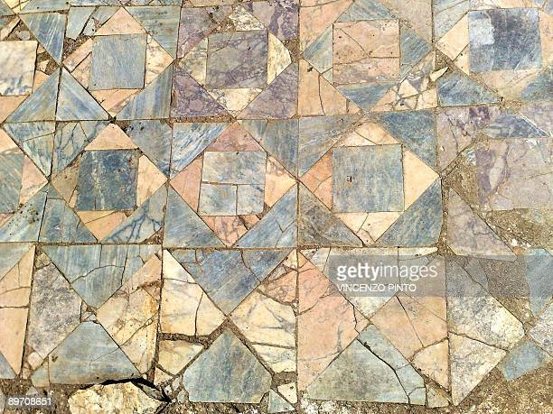 Details of the floor of the house of Roman Emperor Vespasian are pictured in the village of Cittareale on August 8 2009 The archaeologists said...
