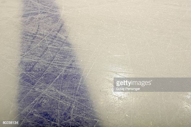 Details of the ice as the Edmonton Oilers face the Colorado Avalanche during NHL action at the Pepsi Center on March 13, 2008 in Denver, Colorado....