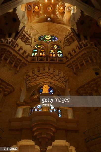Details of the interior of the Basilica i Temple Expiatori de la Sagrada Familia, a Roman Catholic church in Barcelona, designed by Spanish architect...