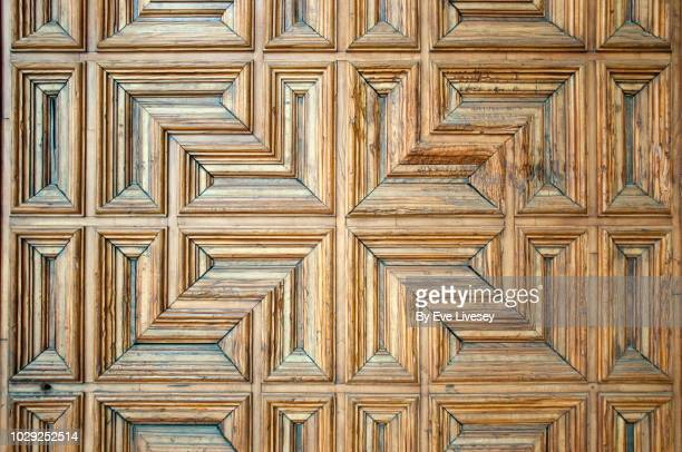 details of the internal door in the cloister of avila cathedral - gothic style stock pictures, royalty-free photos & images
