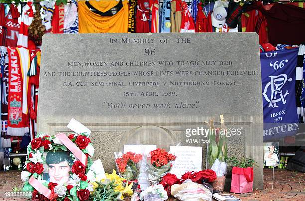 Details of the memorial displayed outside Hillsborough Stadium as jurors for the inquest into the deaths of 96 Liverpool football fans killed in the...