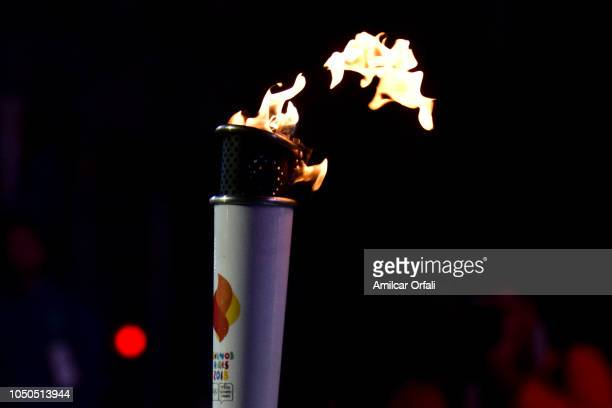 Details of the Olympic Torch during the opening ceremony of the Buenos Aires 2018 Youth Olympic Games at Obelisco monument on October 06 2018 in...