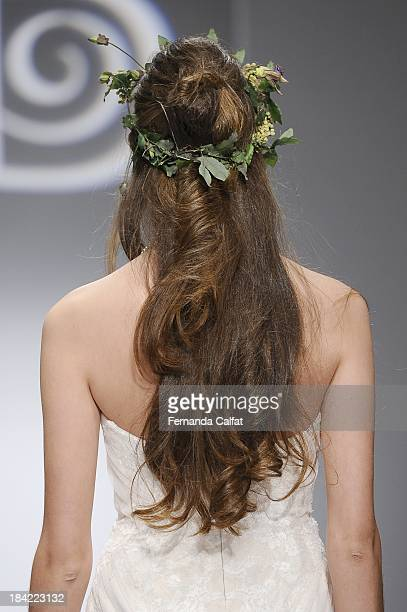 Details of the runway of WTOO Watters Fall 2014 Bridal collection show at the Hilton New York on October 12 2013 in New York City