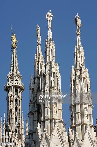 Details of the sculptured towers of the Duomo Cathedral on May 6 2008 in Milan Italy