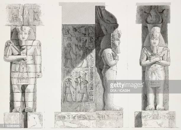 Details of the sculptures of Girscheh Temple Nubia Egypt engraving by Bishop from Antiquites de la Nubie ou Monumens inedits des bords du Nil Plate...