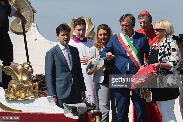 Details of the Serenissima boat with the mayor of Venice during the Sensa procession in Bacino Saint's Mark on May 08 2016 in Venice Italy The...